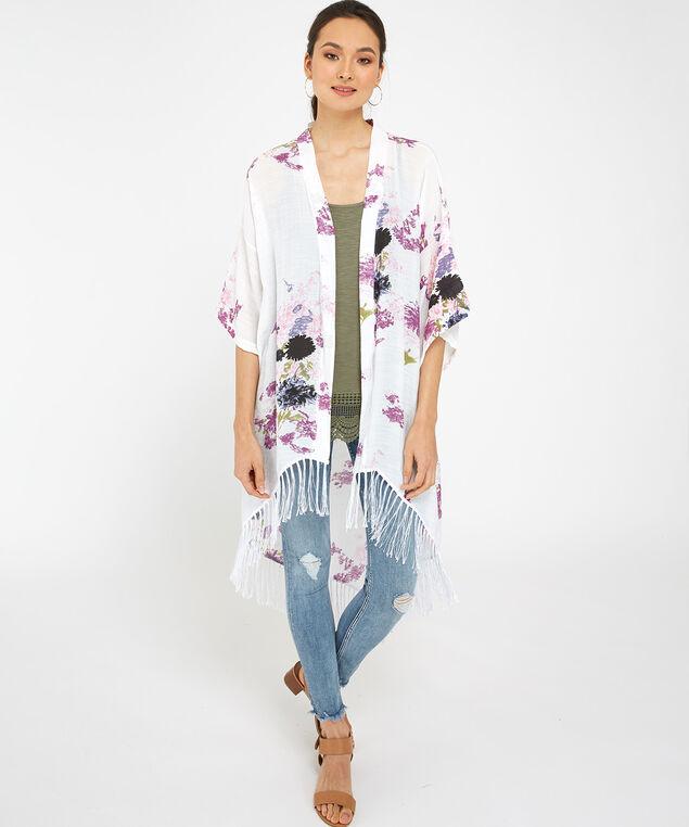 long floral kimono, WHITE, hi-res