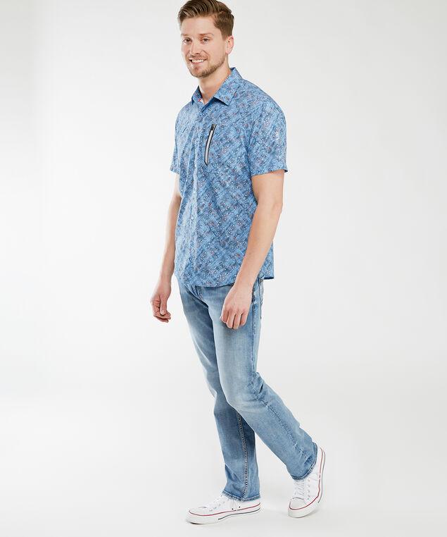 short sleeve printed shirt, Blue Print