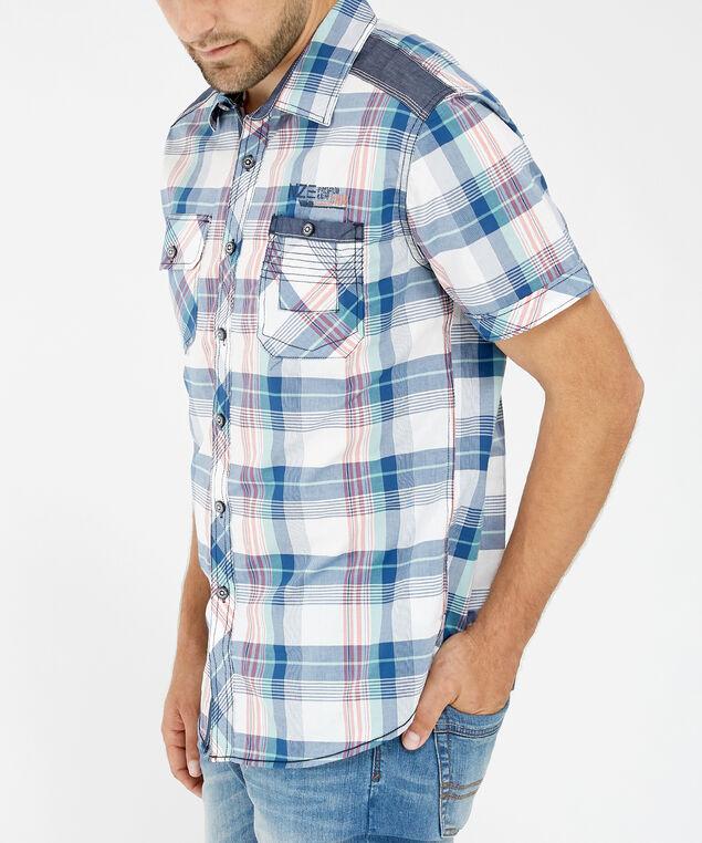 plaid button down shirt - wb, GREEN, hi-res