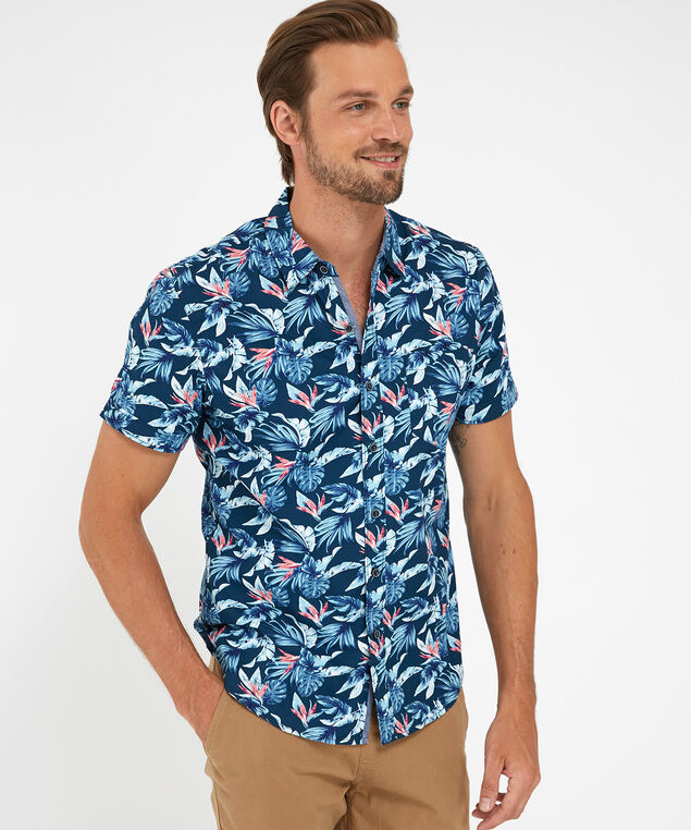 tropical print shirt, Navy, hi-res