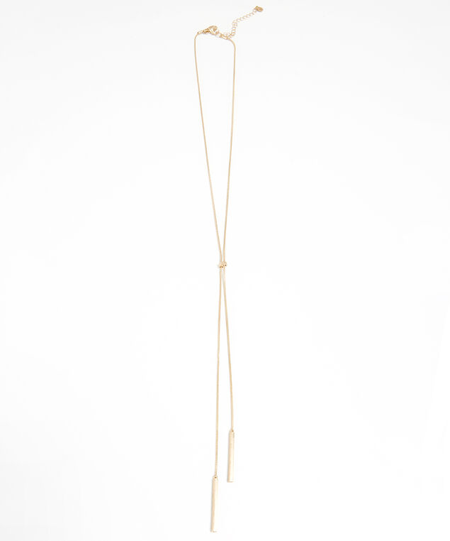 lariat bar necklace, GOLD, hi-res
