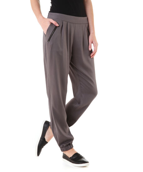 grey soft pant with zips, , hi-res
