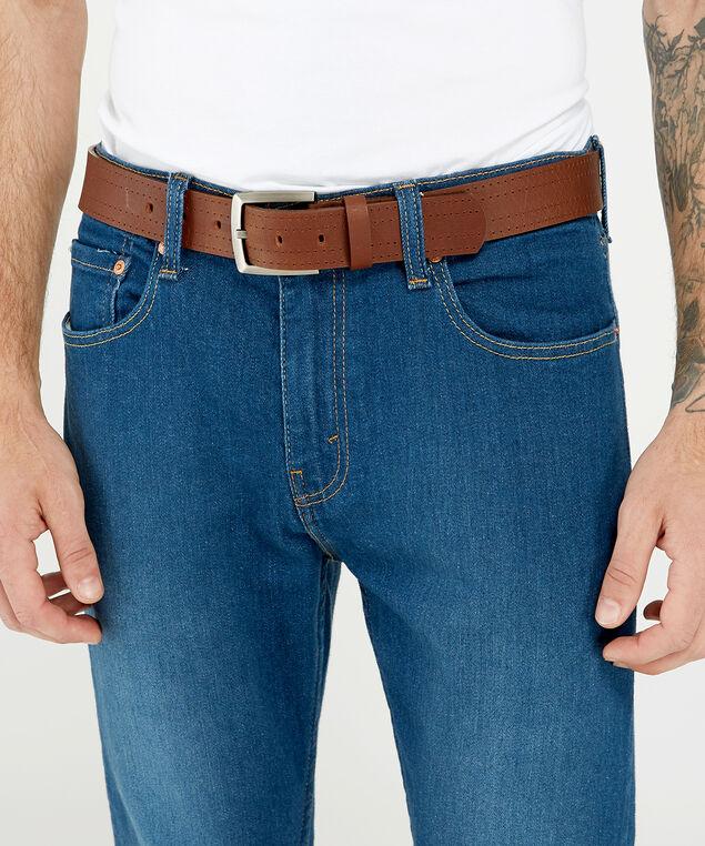 genuine leather belt, medium brown, hi-res