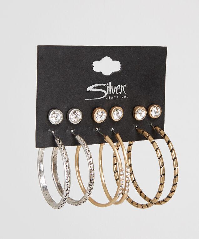 hoop & stud multi pack earrings, GOLD, hi-res