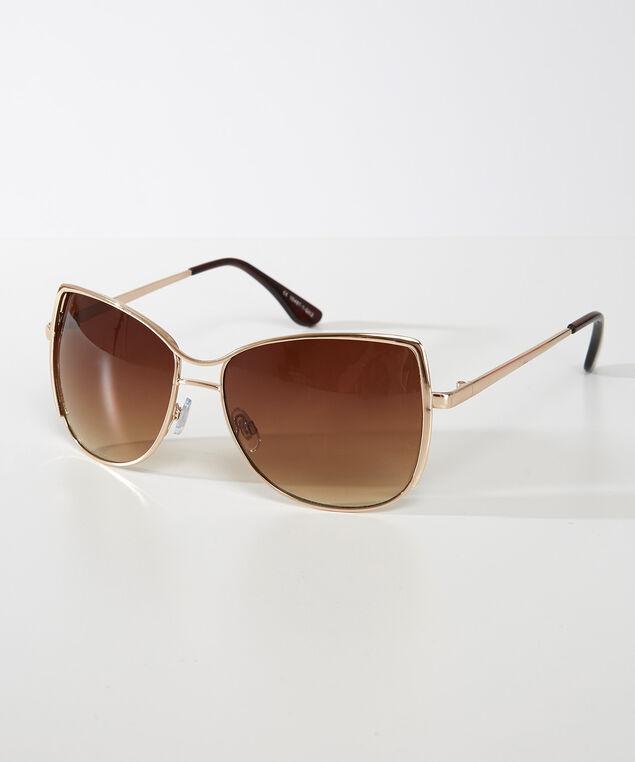 metal square sunglasses, Gold, hi-res
