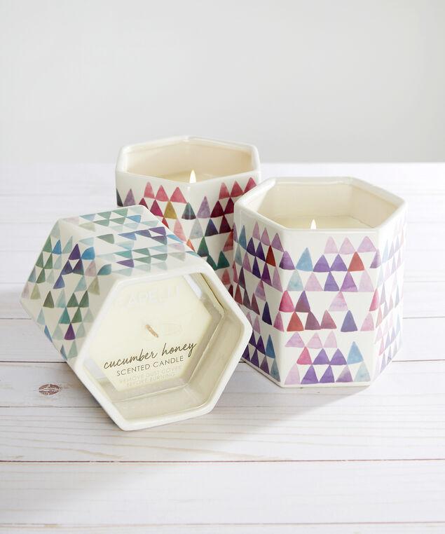 ceramic hexagon candle multi - wb, MULTI COMBO, hi-res