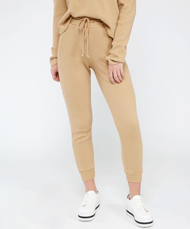 waffle knit jogger - wb, Brown