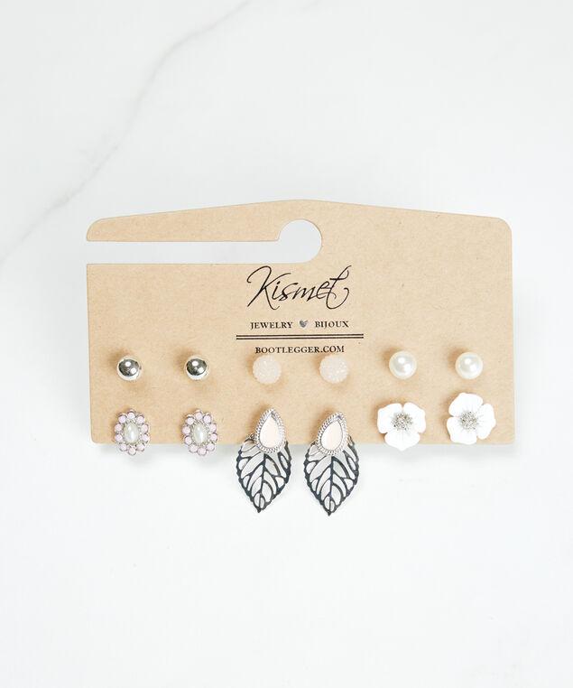 multi pack leaf flower earrings, Silver