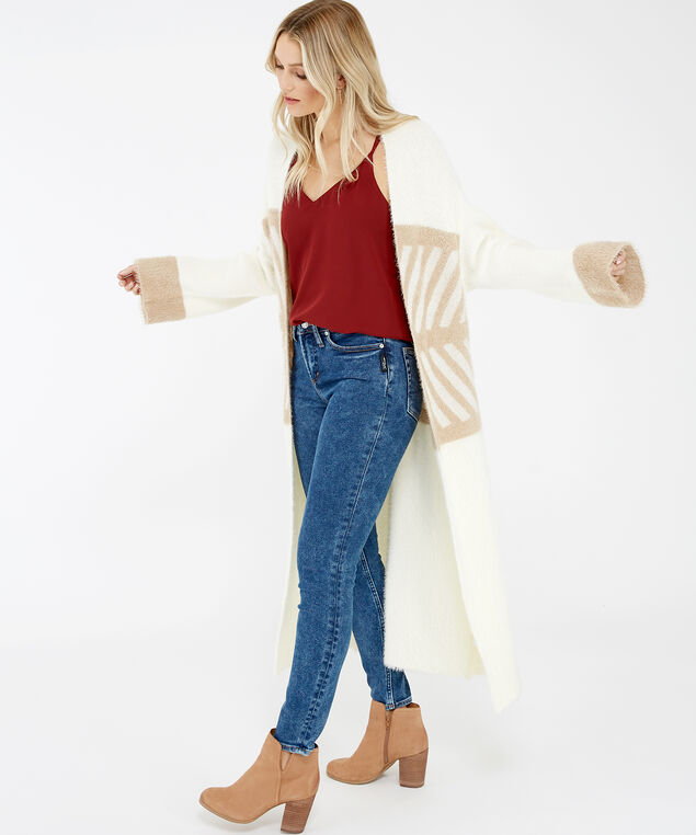 long fuzzy cardigan - wb, Cream, hi-res