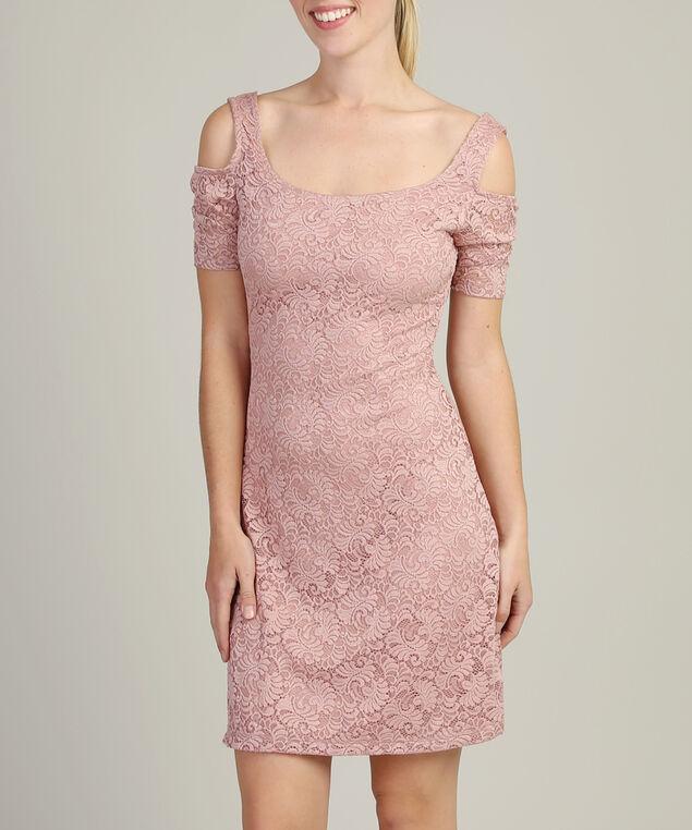 lace cold shoulder dress - wb, PINK, hi-res