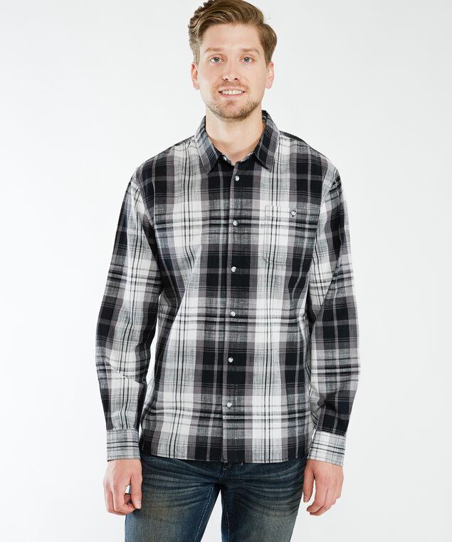 london long sleeve shirt, Black Plaid