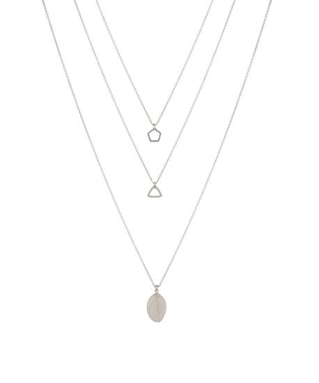 large stone necklace, RHODIUM, hi-res