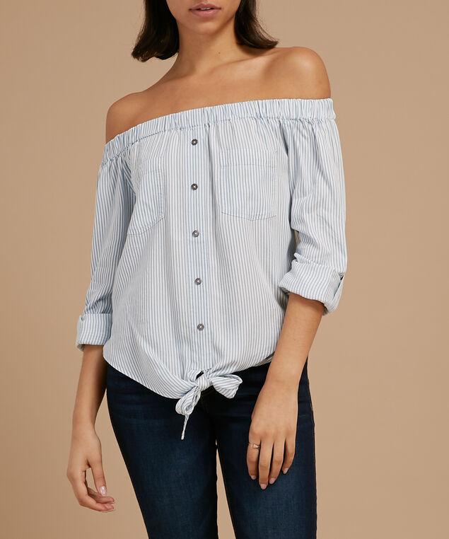 striped off the shoulder top - wb, BLUE/WHITE, hi-res