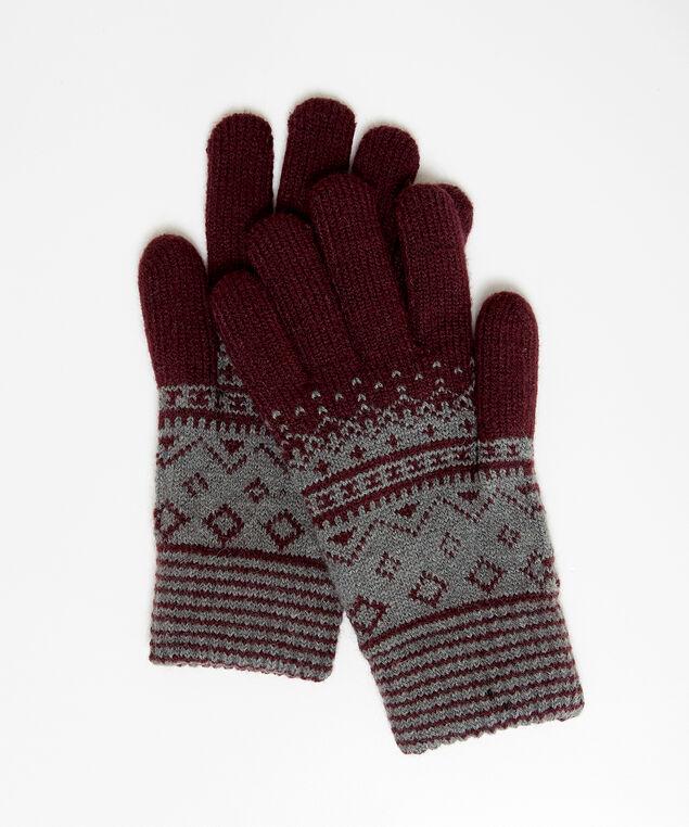 fairisle gloves, WINE/GREY, hi-res