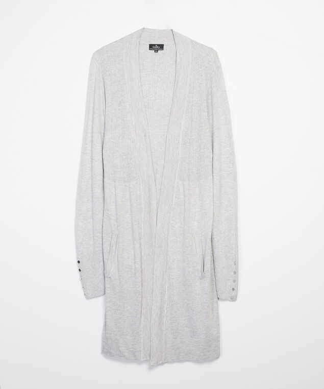 button sleeve cardigan - wb, Silver, hi-res