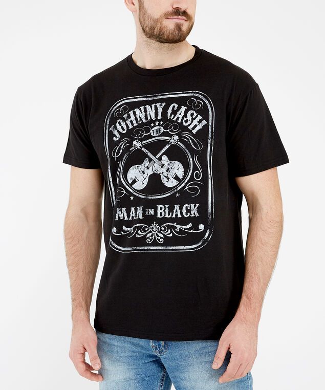 johnny cash graphic tee, Black, hi-res