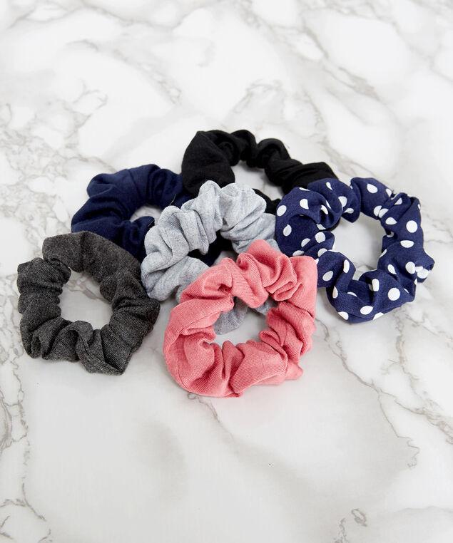 6 pack of scrunchies, NAVY, hi-res