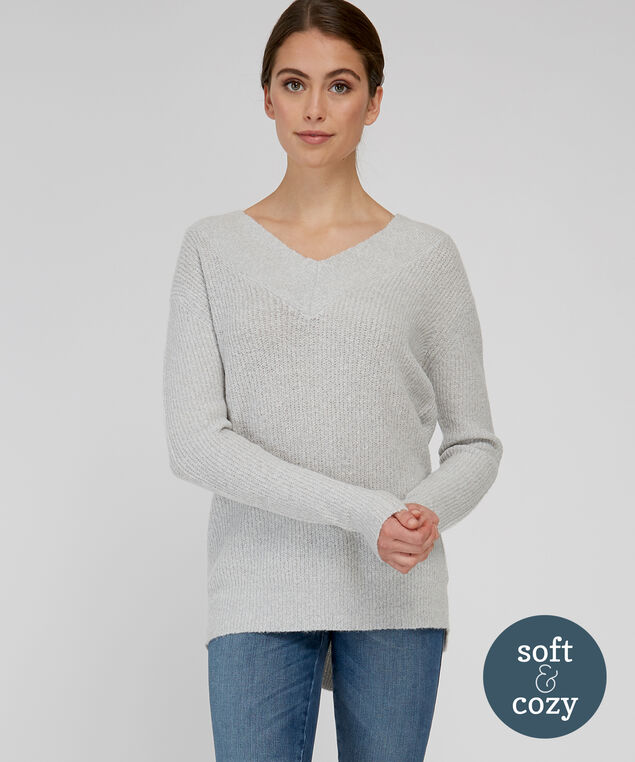 double v-neck sweater - wb, LIGHT GREY, hi-res