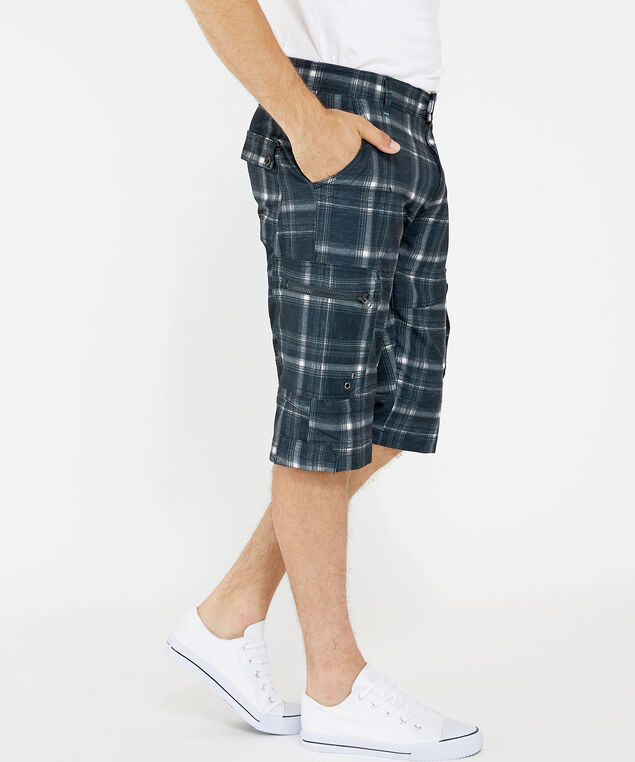 plaid hybrid cargo short, BLACK, hi-res