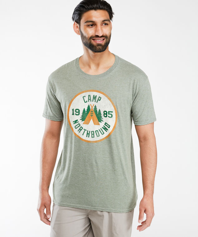 camping screen t-shirt, Md Green