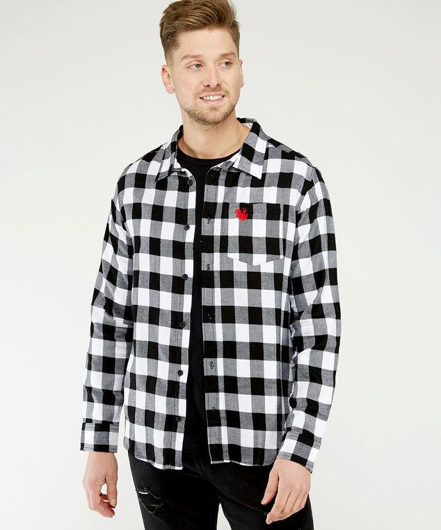 buffalo plaid shirt with moose embroidery, White/Black, hi-res