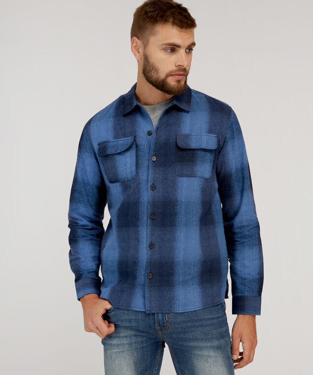blue flannel shirt, BLUE, hi-res