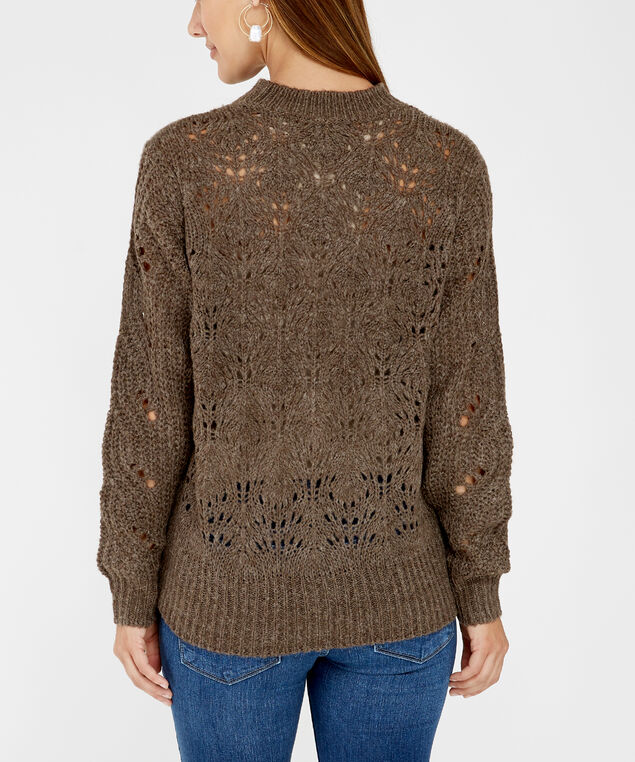 pointelle stitch sweater - wb, Brown, hi-res
