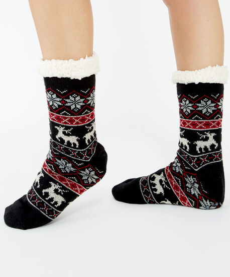 2 pack of sherpa slipper socks, Red, hi-res