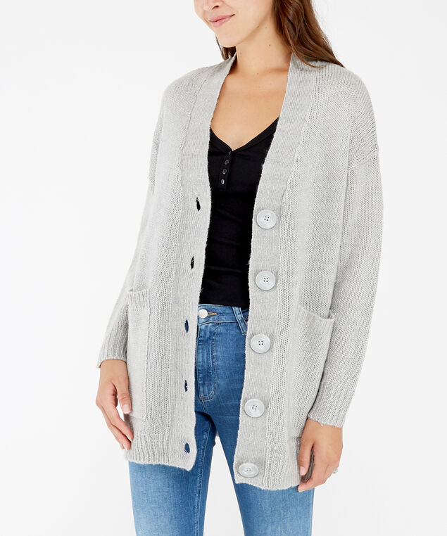 button down cardigan - wb, Silver, hi-res