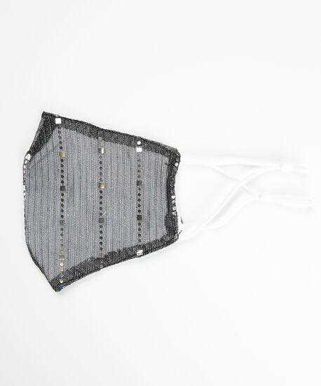 black shimmer face mask, Black, hi-res