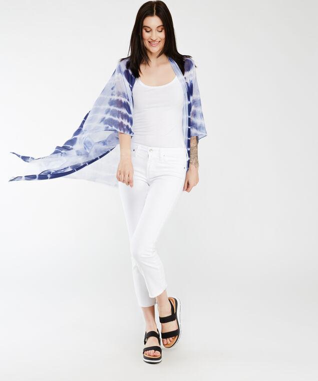 tie dye print kimono, Blue White
