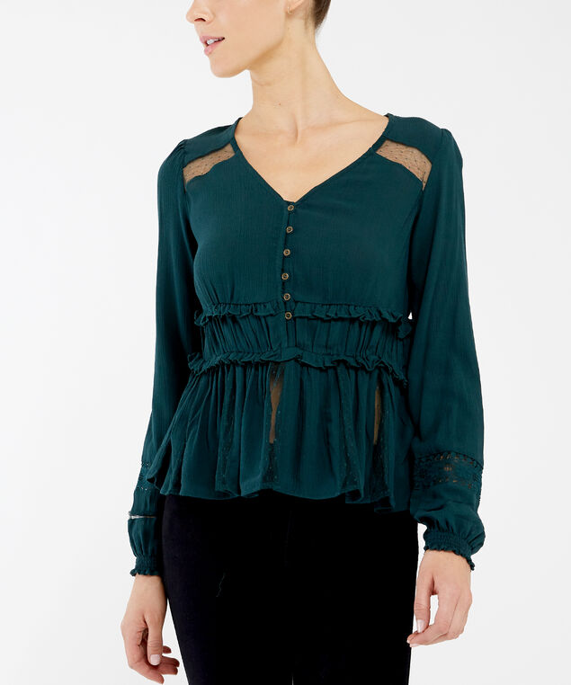 v-neck blouse - wb, BLUE, hi-res