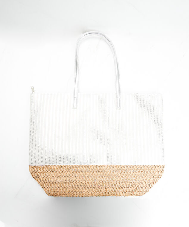metallic beach bag, Silver