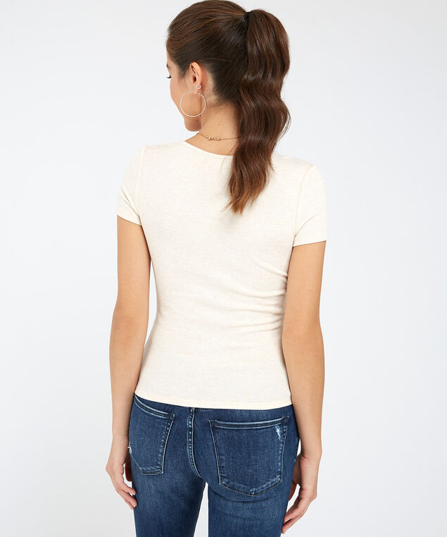 ribbed side tie tee - wb, HEATHER OATMEAL, hi-res
