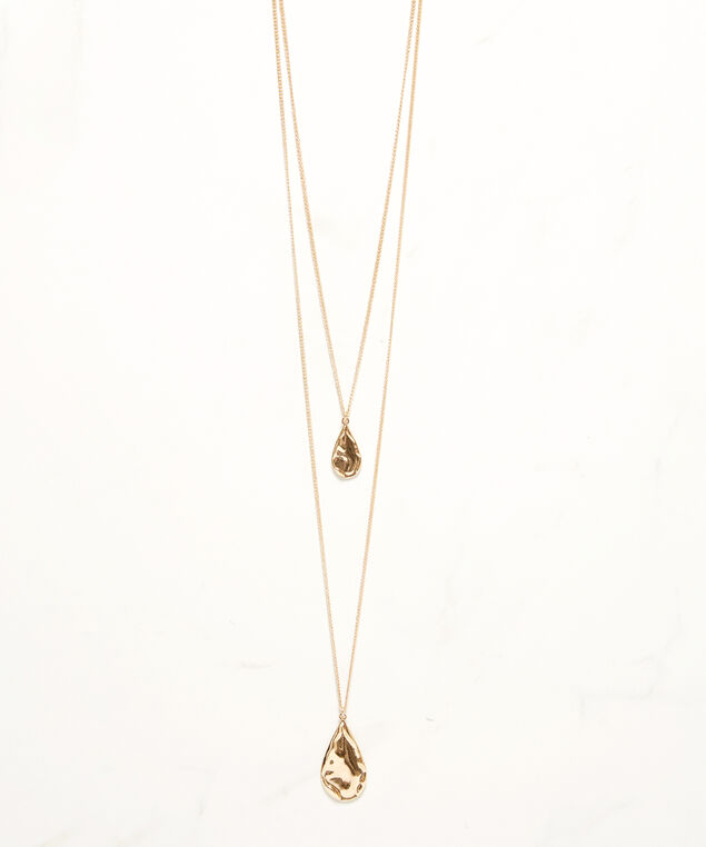 layered tear drop necklace, Gold, hi-res