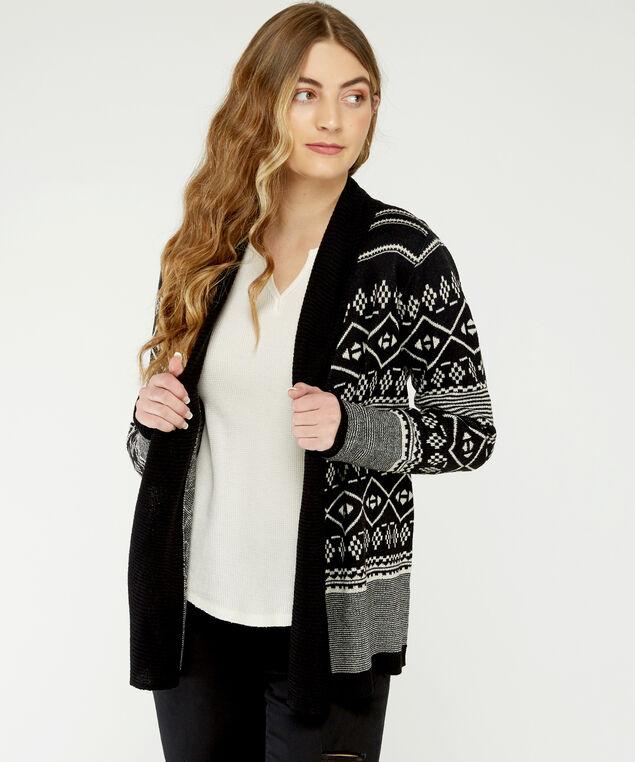jacquard cardigan - wb, Black Pattern