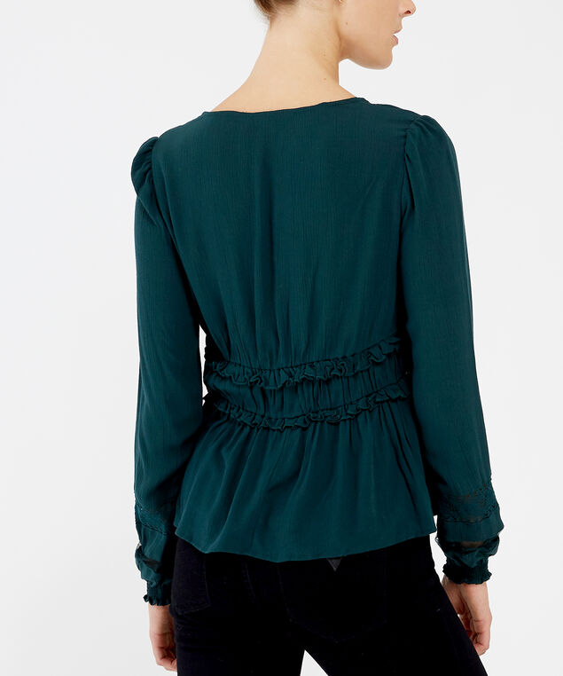 v-neck blouse - wb, BLUE, hi-res
