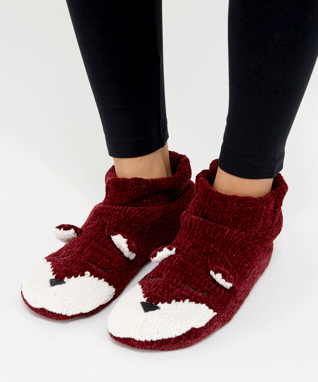 fox knit slipper sock, Wine, hi-res
