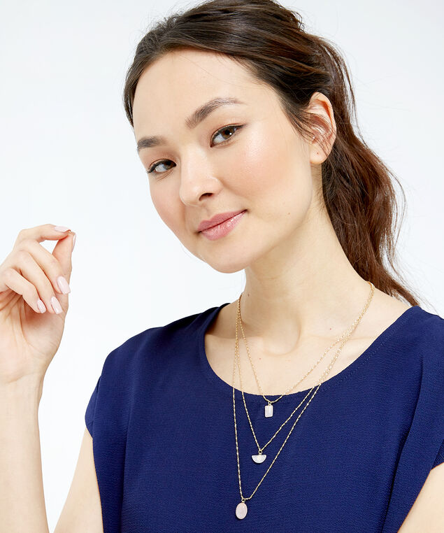 gold tone precious stone necklace, Gold, hi-res