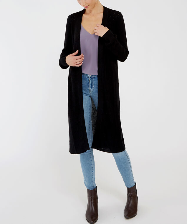 pointelle stitch cardigan - wb, BLACK, hi-res