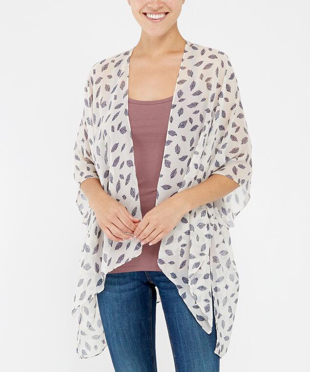 feather print kimono, WHITE, hi-res