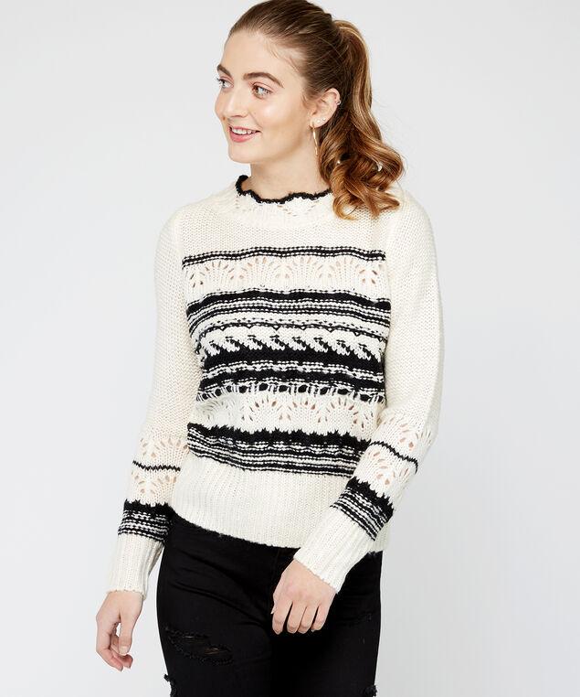 pointelle sweater - wb, White/Black, hi-res