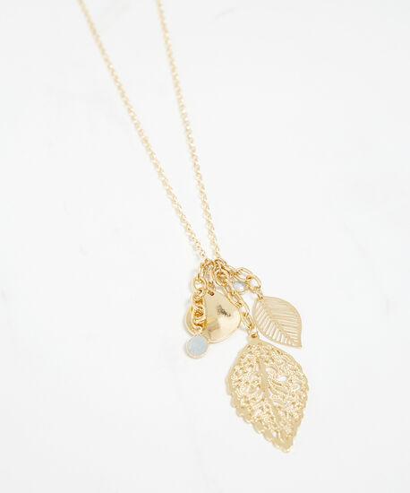 vintage leaf charm necklace, Gold, hi-res