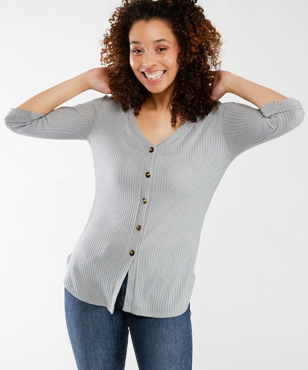 3/4 sleeve button front, Lt Grey