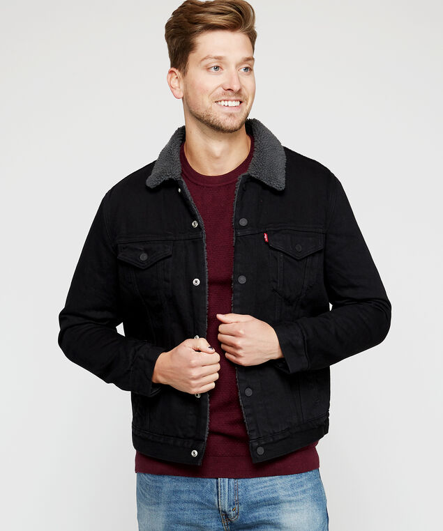 levi's sherpa trucker jacket - wb, Black, hi-res