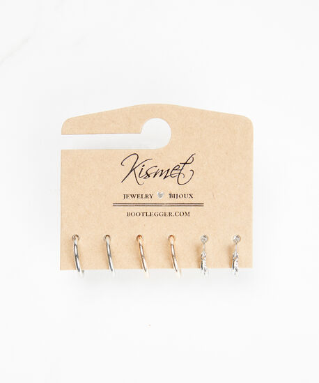trio mini hoop set, Silver Rose Gold, hi-res