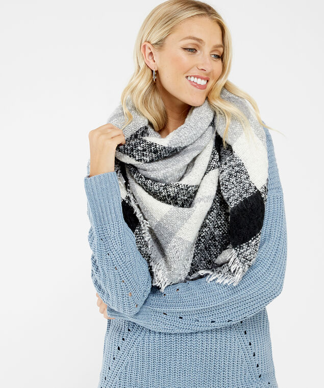 square blanket scarf, GREY, hi-res