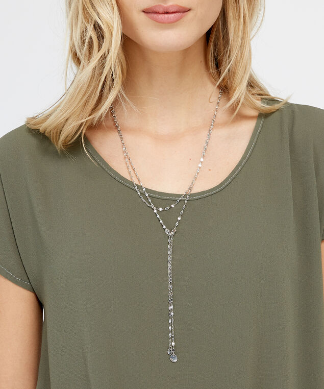 layered lariat necklace, RHODIUM, hi-res