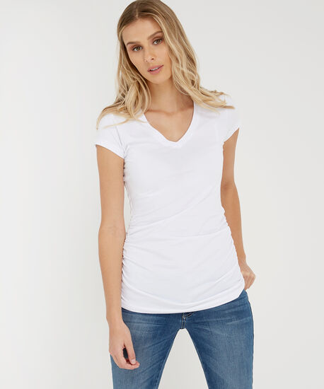 jenny ruched tee, WHITE, hi-res