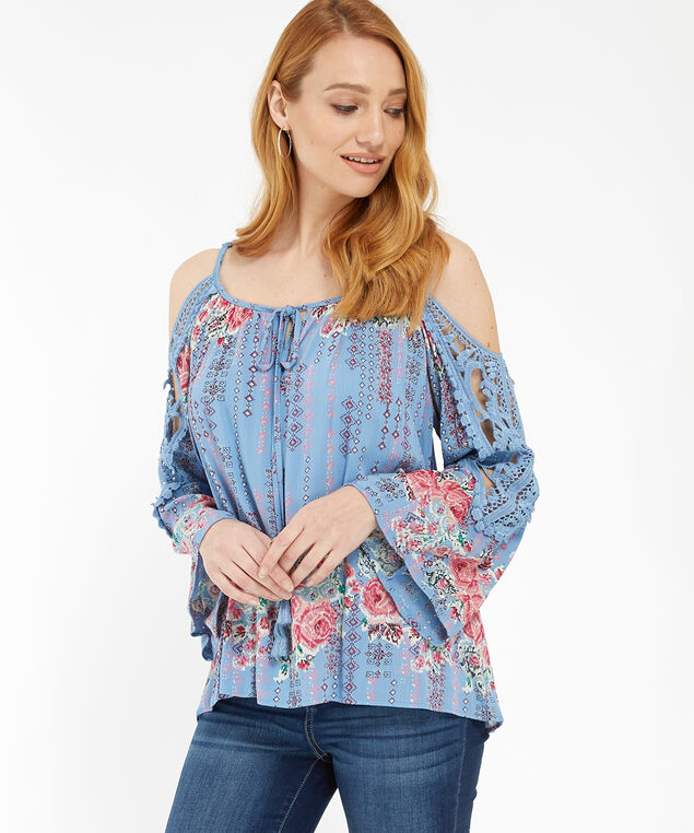 cold shoulder with lace - wb, PERIWINKLE, hi-res